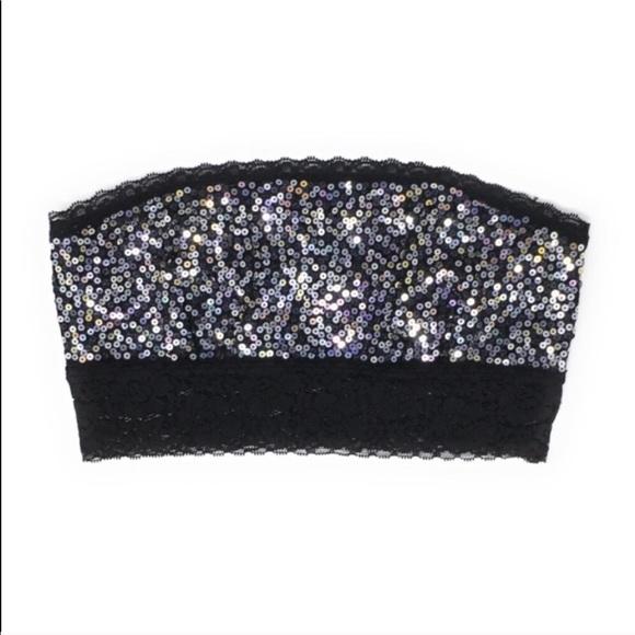 9fe766e125e216 VS PINK Silver Sequin Bandeau Black Lace Bralette.  M 5c491b3a9fe4866fb7681a2b
